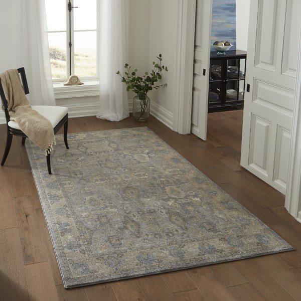 Silver, Ivory Traditional / Oriental Area Rug