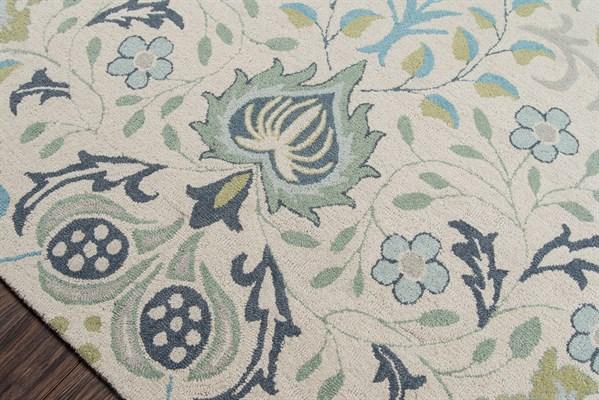 Blue, Green Floral / Botanical Area Rug
