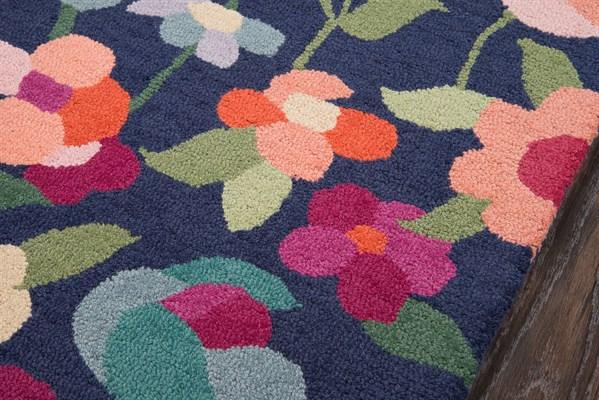 Navy Floral / Botanical Area Rug