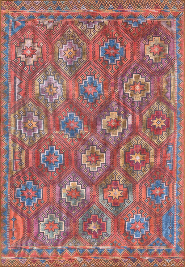 Red, Blue, Brown Traditional / Oriental Area Rug