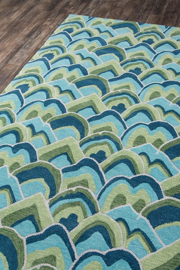 Green, Blue, Aqua Transitional Area Rug