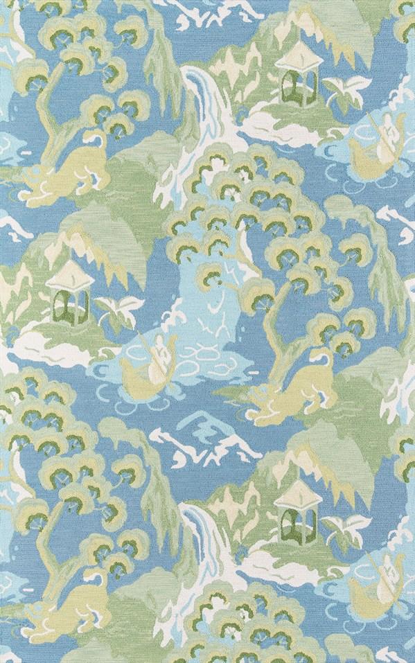 Blue, Green, Ivory Novelty / Seasonal / Sports Area Rug