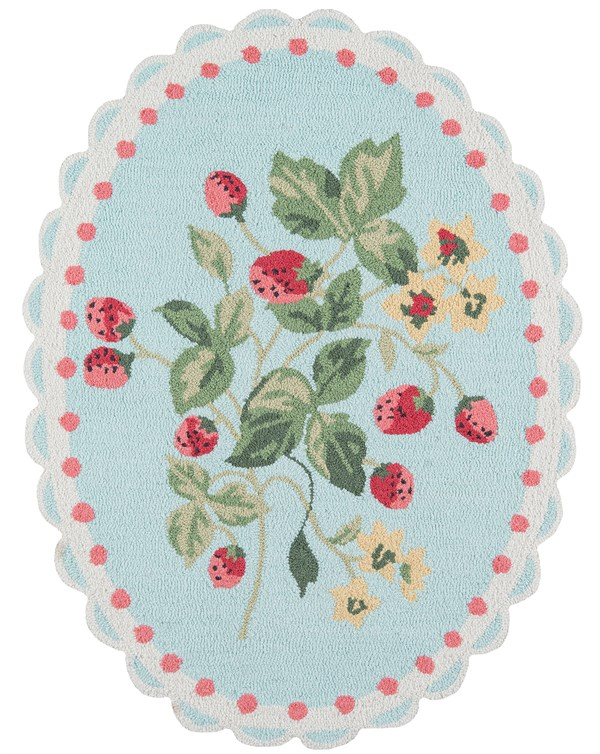 Red, Blue, Ivory Transitional Area Rug