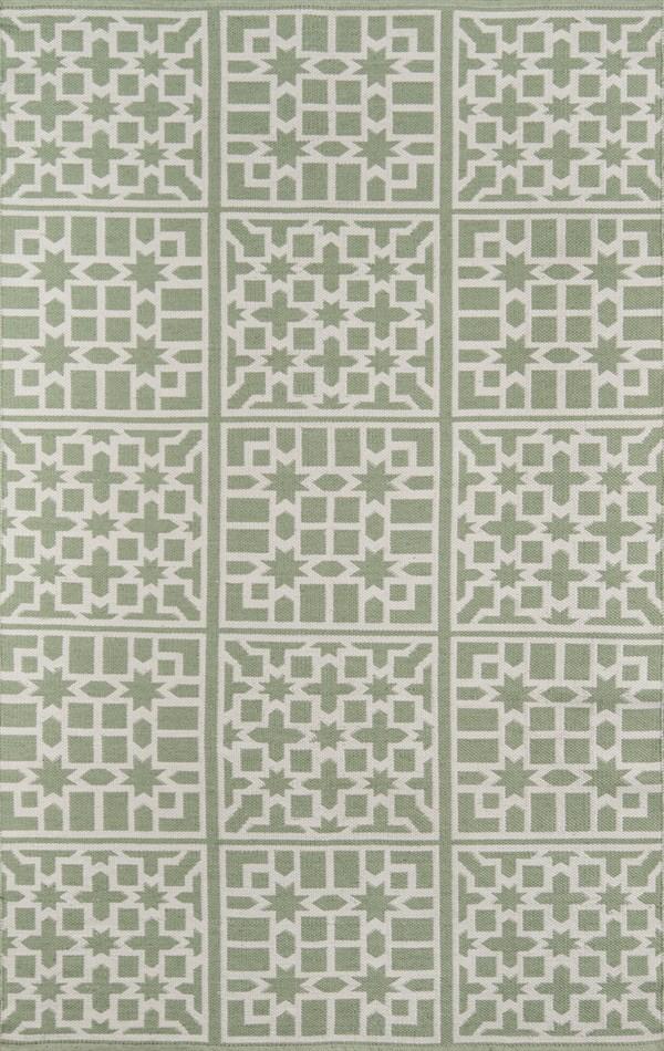 Green, Ivory Outdoor / Indoor Area Rug