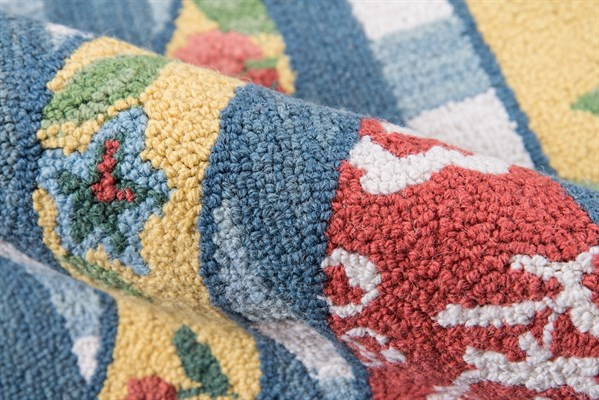 Red, Blue, Yellow Floral / Botanical Area Rug