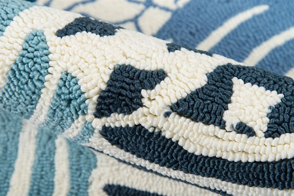 Blue, Navy, White Bordered Area Rug