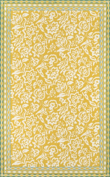 Yellow, Ivory Floral / Botanical Area Rug