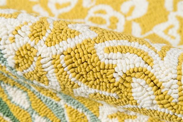 Yellow, Ivory Outdoor / Indoor Area Rug