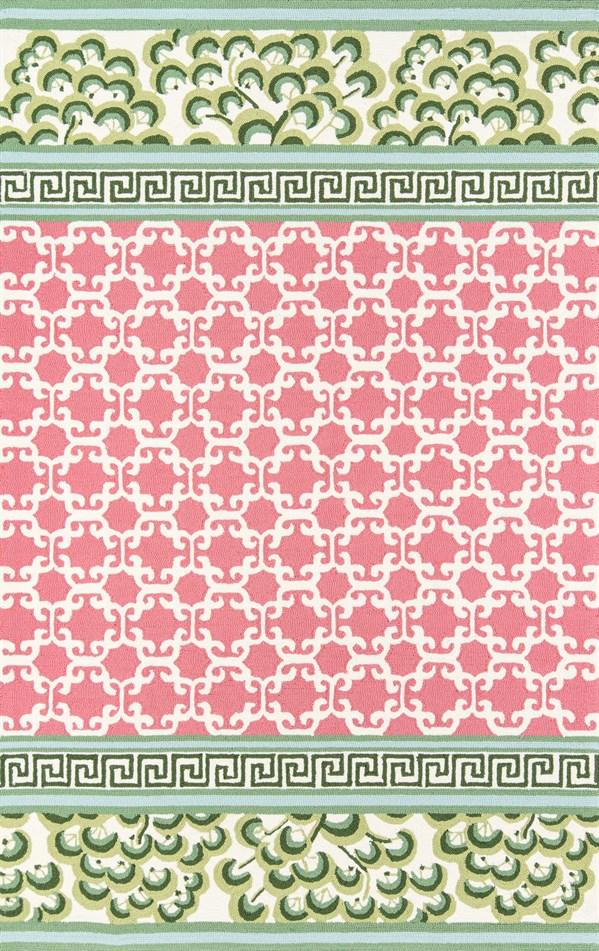 Pink, Green, Ivory Outdoor / Indoor Area Rug