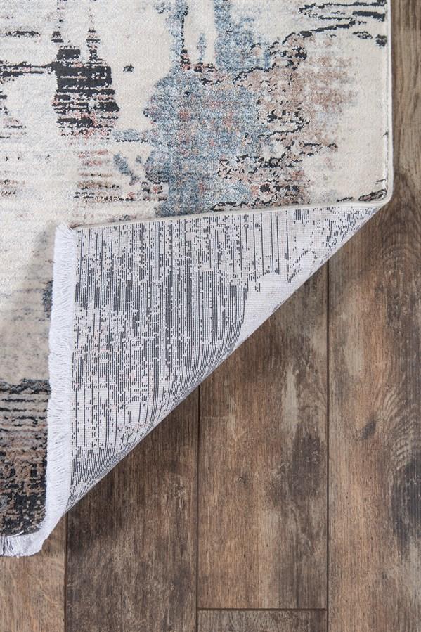White, Ivory, Black Contemporary / Modern Area Rug