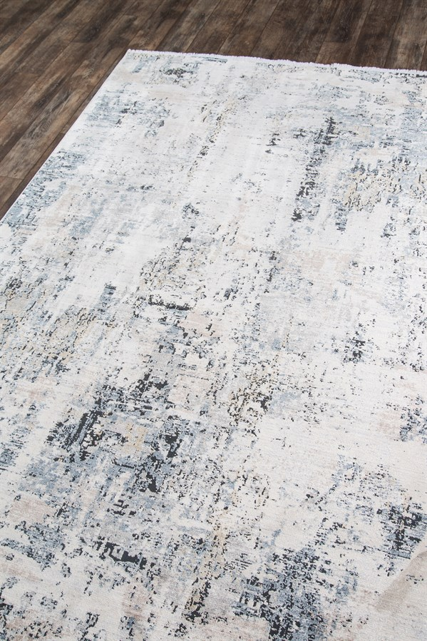 White, Blue, Black Contemporary / Modern Area Rug