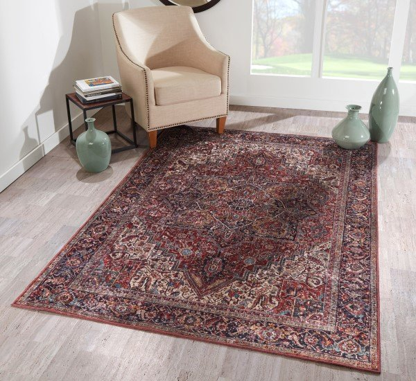 Burgundy Traditional / Oriental Area Rug