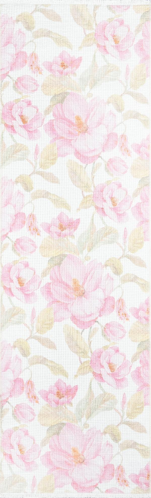 Cream, Pink, Leaf Floral / Botanical Area Rug
