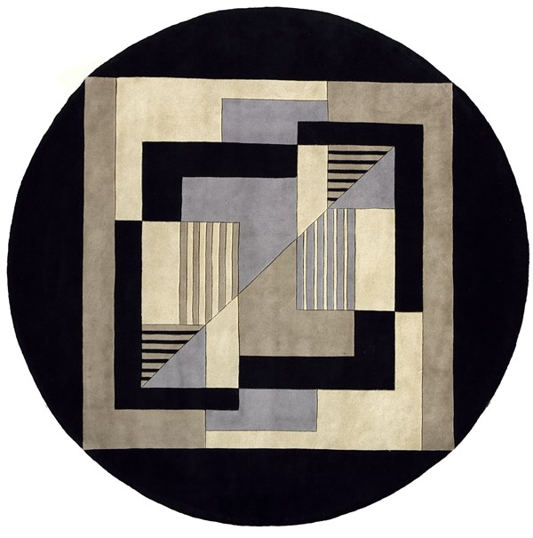 Black Geometric Area Rug