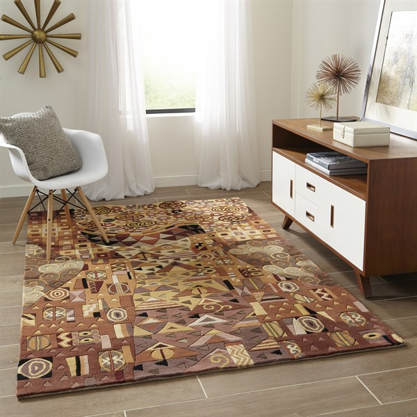 Goldenrod, Jet Black, Rust Contemporary / Modern Area Rug