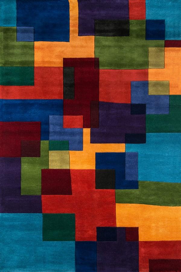 Marine Blue, Purple, Red - Orange Geometric Area Rug