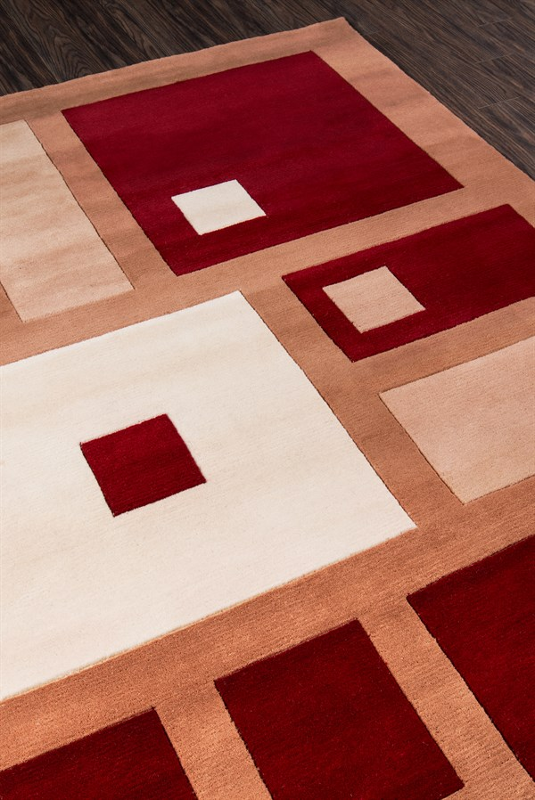 Red Contemporary / Modern Area Rug