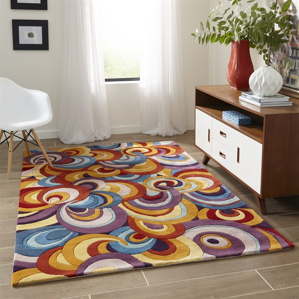 Teal, Purple, Gold Contemporary / Modern Area Rug