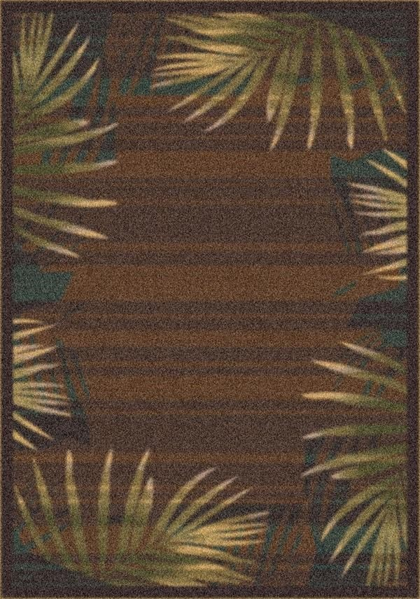 Brown Leather (626) Floral / Botanical Area Rug