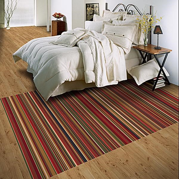 Dark Red (213) Striped Area Rug