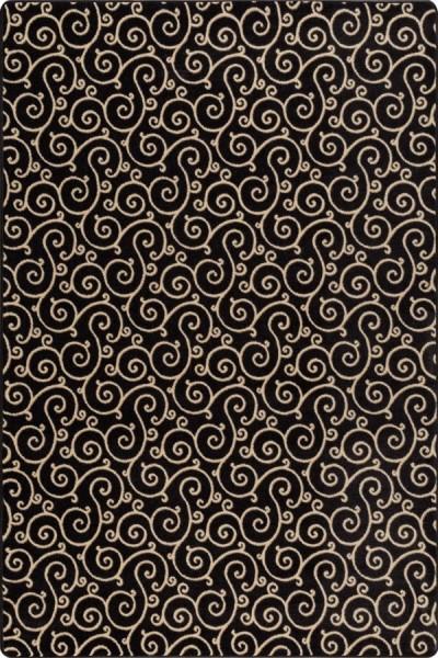 Velvet Black Transitional Area Rug