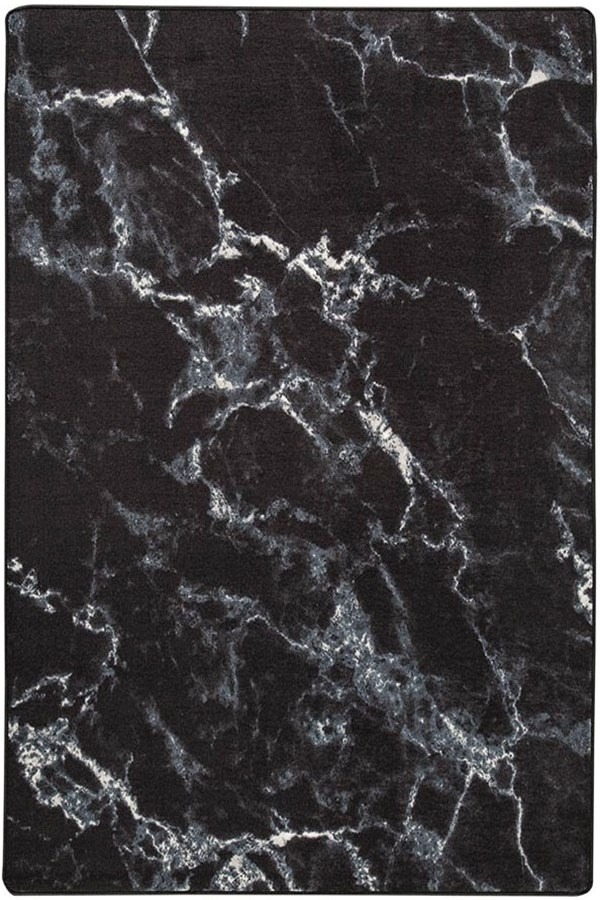Nero Black Abstract Area Rug