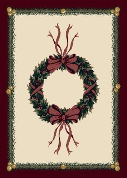 Beige, Red, Green (C550) Novelty / Seasonal Area Rug
