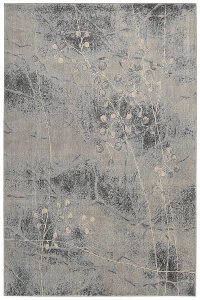 Silver, Blue Floral / Botanical Area Rug