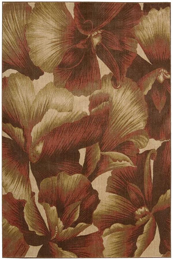 Red, Ivory Floral / Botanical Area Rug