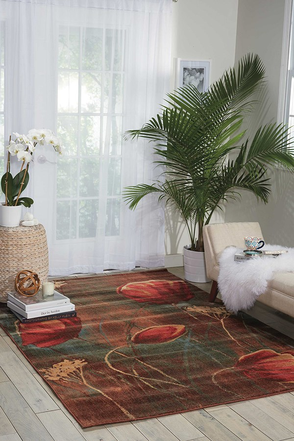 Brown, Blue Floral / Botanical Area Rug