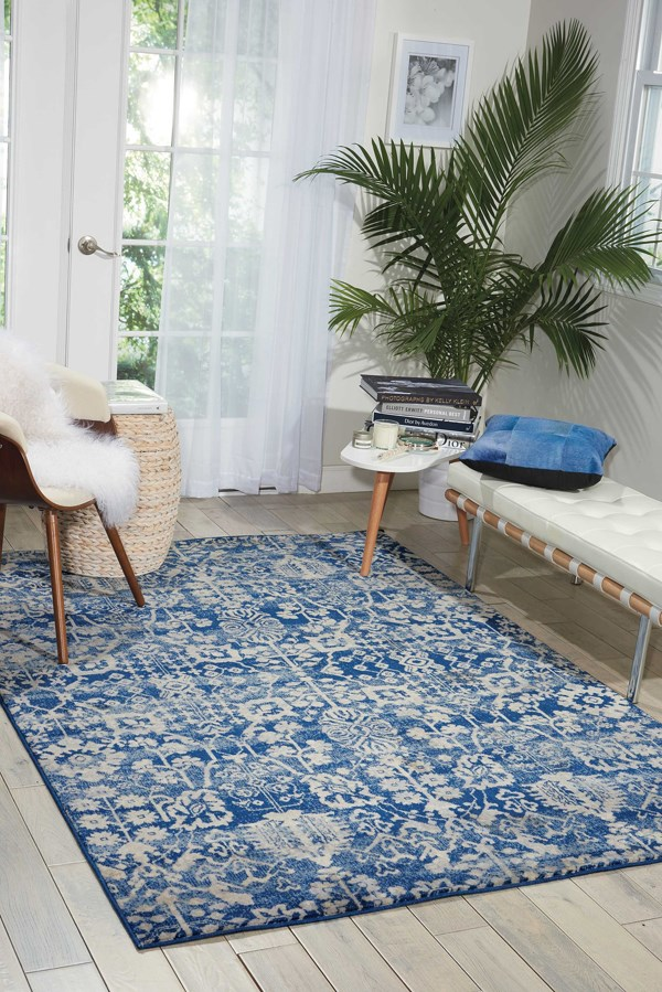 Navy Blue Traditional / Oriental Area Rug