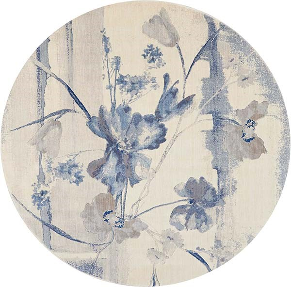 Ivory, Blue Floral / Botanical Area Rug