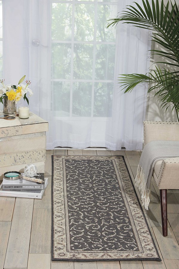 Charcoal Traditional / Oriental Area Rug