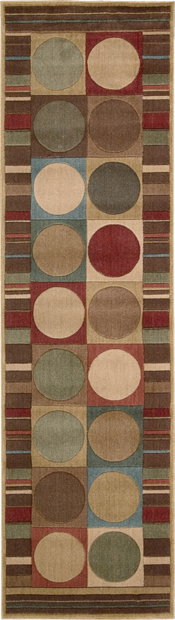 Red, Brown Contemporary / Modern Area Rug