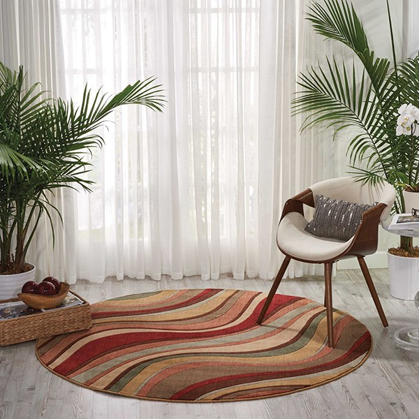 Ivory, Red Contemporary / Modern Area Rug