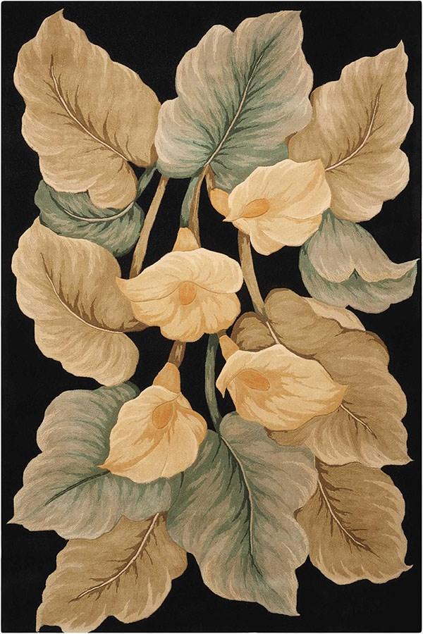 Black Floral / Botanical Area Rug