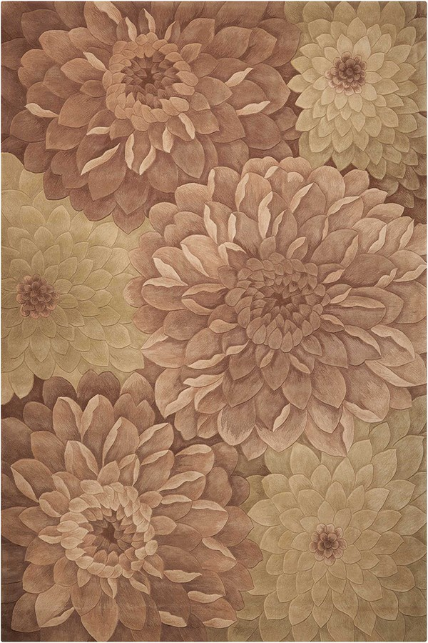 Taupe, Green Floral / Botanical Area Rug