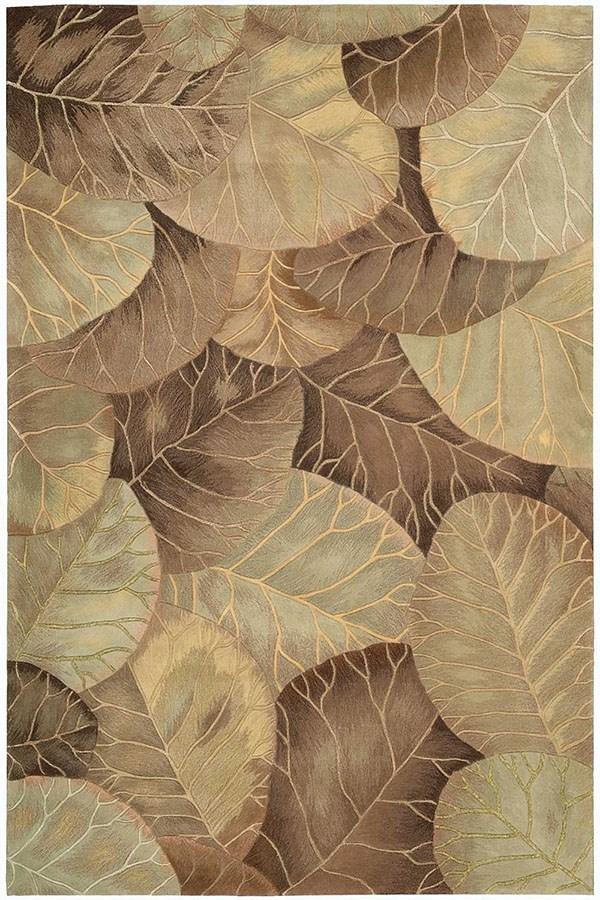 Brown, Green Floral / Botanical Area Rug