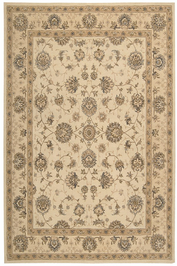 Cream Traditional / Oriental Area Rug
