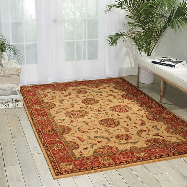 Ivory, Red Traditional / Oriental Area Rug