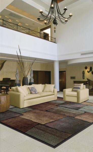 Brown, Aqua Contemporary / Modern Area Rug