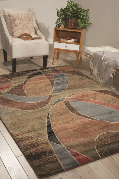 Blue, Brown Contemporary / Modern Area Rug