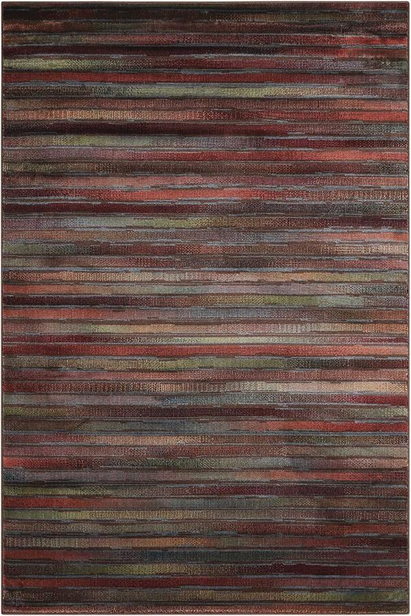 Rust, Sage Striped Area Rug