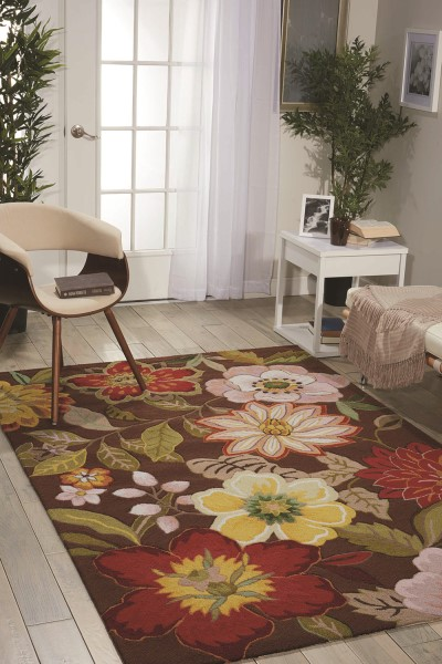 Chocolate Floral / Botanical Area Rug