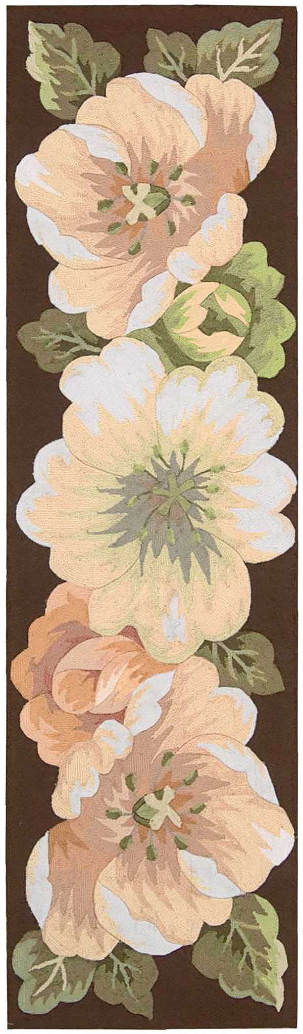 Brown, White, Peach  Floral / Botanical Area Rug