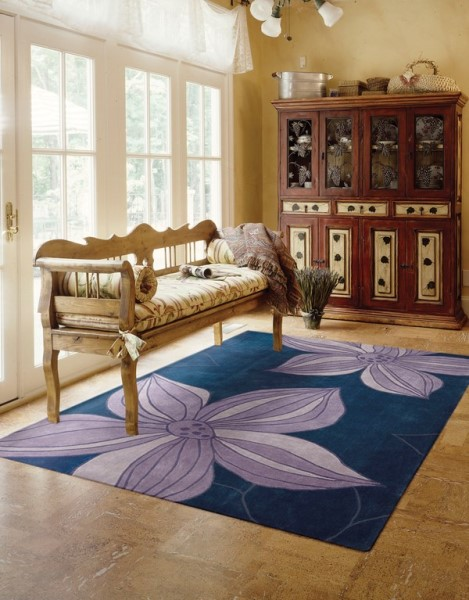 Blue Floral / Botanical Area Rug