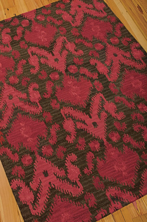 Brown, Red Ikat Area Rug