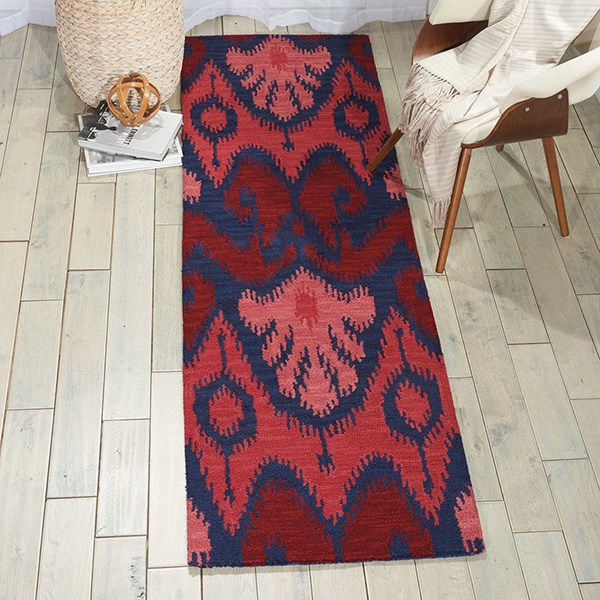 Navy, Red Ikat Area Rug