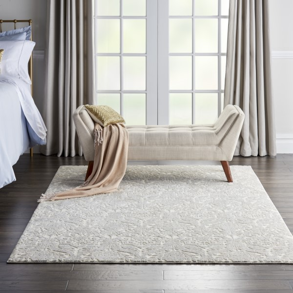 Ivory, Silver Transitional Area Rug
