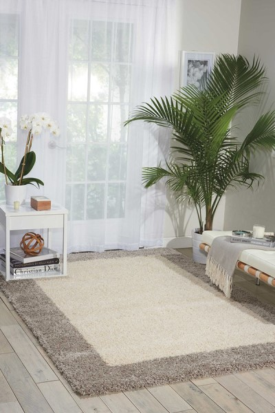 Ivory, Silver Contemporary / Modern Area Rug